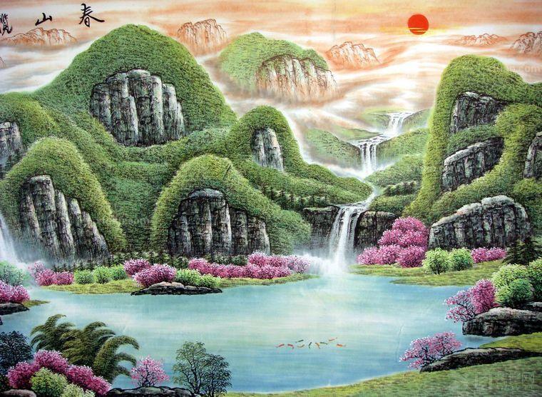 办公室展现优雅大气山水风景油画
