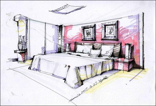室内设计手绘效果图中餐厅