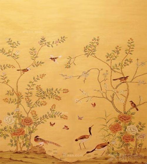 中国风花鸟手绘墙纸效果图