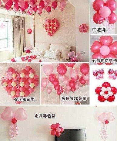 气球装饰房间效果图 婚房装饰气球效果图 新年气球装饰效高清图片