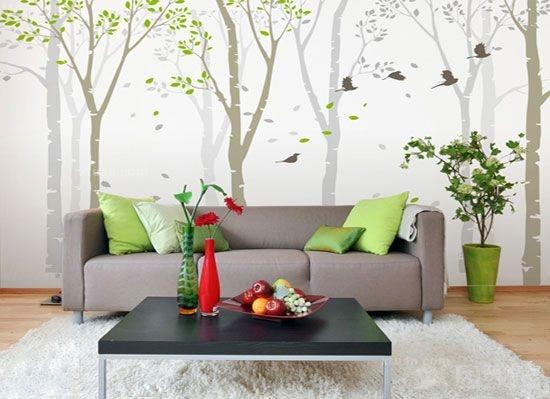 8个彩绘沙发背景墙