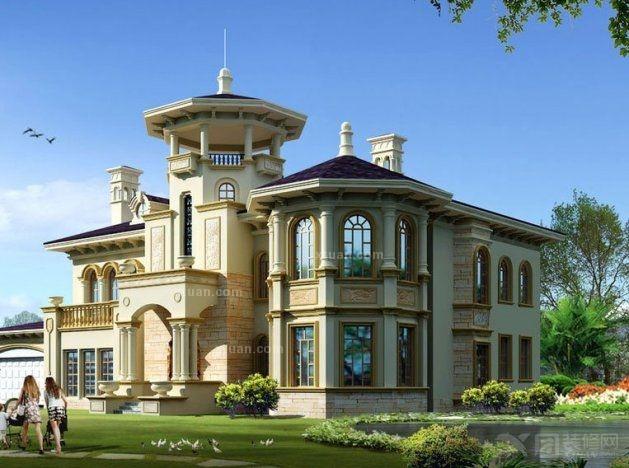 经典2013最新欧式别墅外观效果图欣赏图片