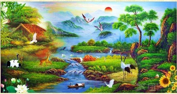 客厅山水风景油画图片欣赏