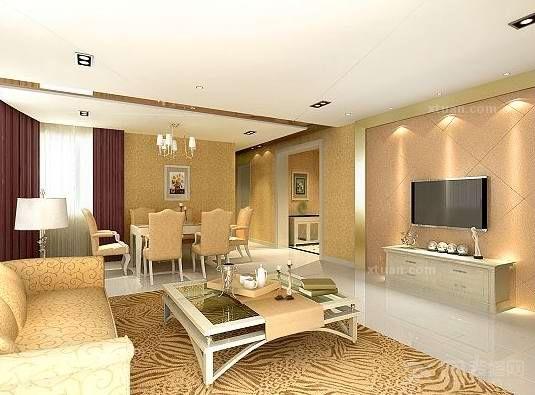最时尚的客厅石膏板吊顶效果图 x团装修网高清图片
