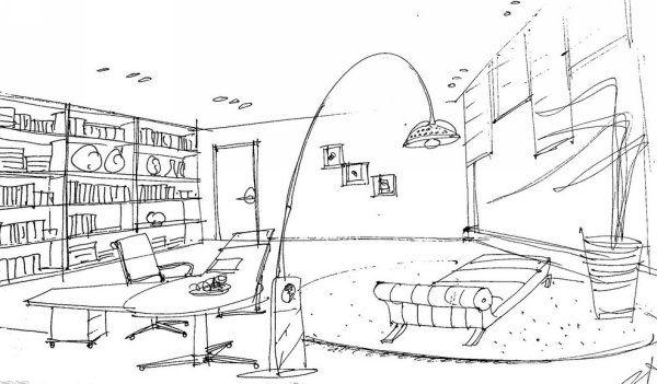 设计师混搭童话风 中式书房手绘效果图