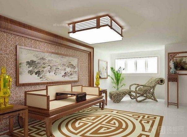 中式风格客厅沙发背景墙在于中国风装饰画的点缀下