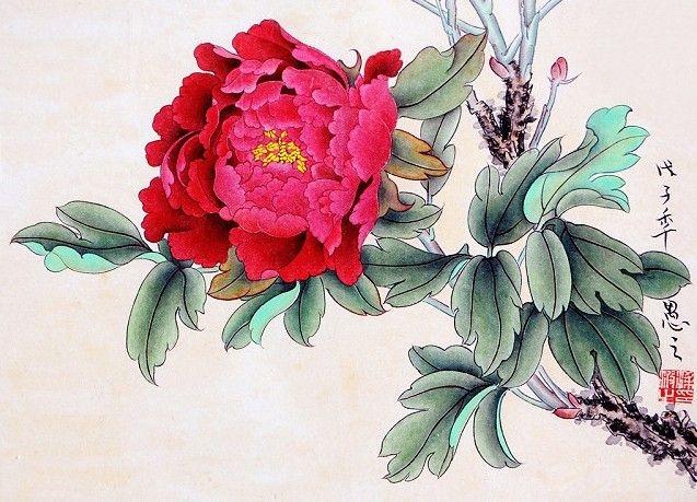 牡丹花工笔画 装饰画寓意花开富贵