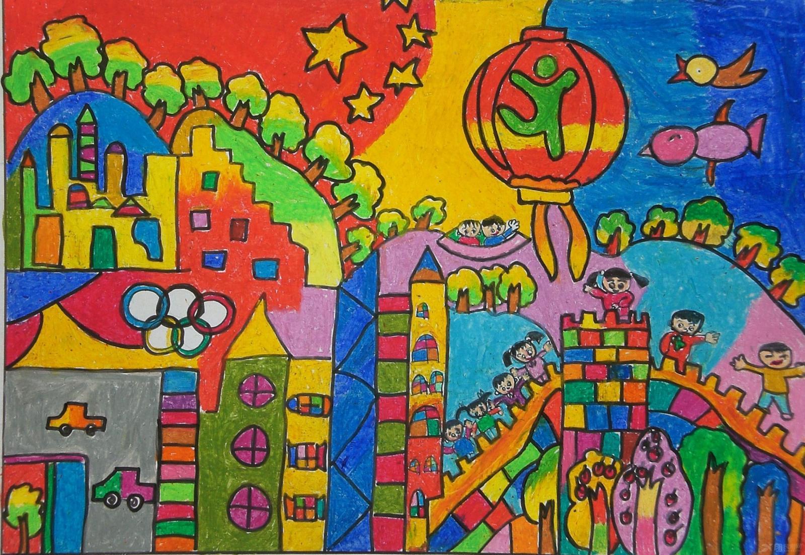 儿童画还有很多的要点,比如说儿童画的形式,儿童画的主题,儿童画的色彩搭配等等,儿童画也包含了孩子们的内心世界,也许有些语言是不能够很明确的表达出他们的想法,但是儿童画却可以。 儿童画欣赏:  蓝色的海洋,广阔的天空,白色的云朵,多彩的气球,这些都象征着自由。表明了孩子们的内心是多么的渴望自由,和自己最亲爱的小伙伴们,一起自由飞翔在天空中,很开心很快乐。我们平时在教育孩子们时也要适当的放松娱乐哦。 儿童画欣赏:  我们从幼儿园到大学,期间会经历小学,初中,高中。在这段期间遇到的人并和她们友好的相处是不