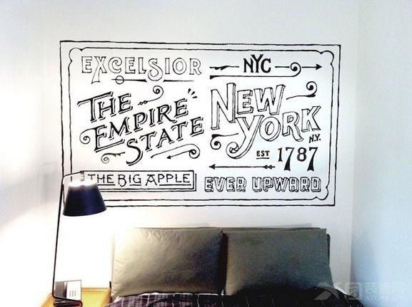 卧室手绘墙,背景墙手绘字母图片