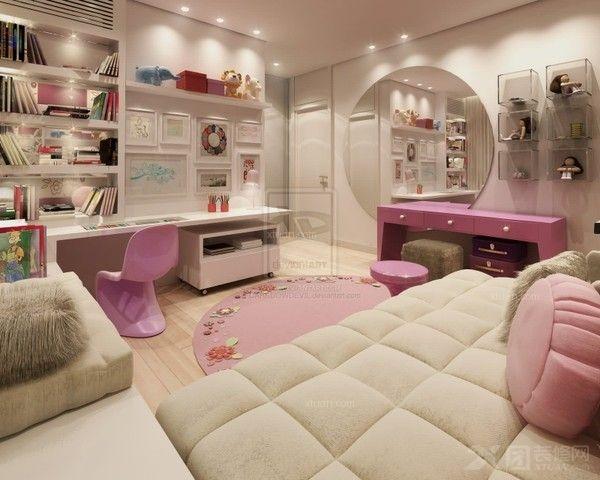 传统的床头柜,第一层一般都是抽屉的形式,不过作成上层开放式,反而方便随手取用床头物品。一般临睡前看的书或是其他物件都能随时取用。 家具搭配方案:铁艺床+穿衣镜+床 心思灵巧,婉约柔顺的优雅女孩,最具有公主的气质。她们的房间自然也要以轻巧、柔美、精致的家具为主。