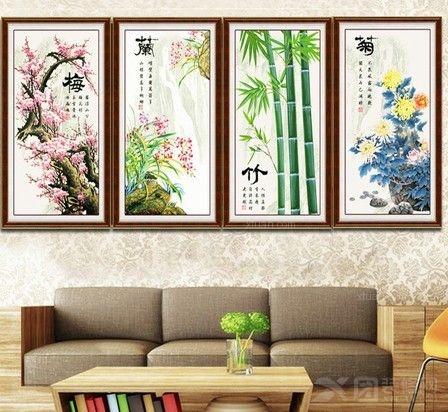 客厅背景墙风景十字绣挂画图片