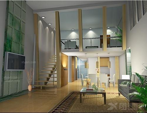 复式楼梯装修效果图 小跃层的舒适生活田园复式客厅装 洛杉矶豪华复式