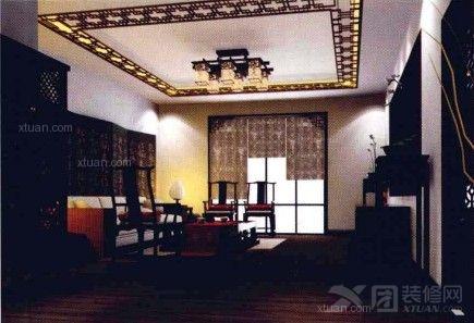 中式风格客厅墙纸效果图图片