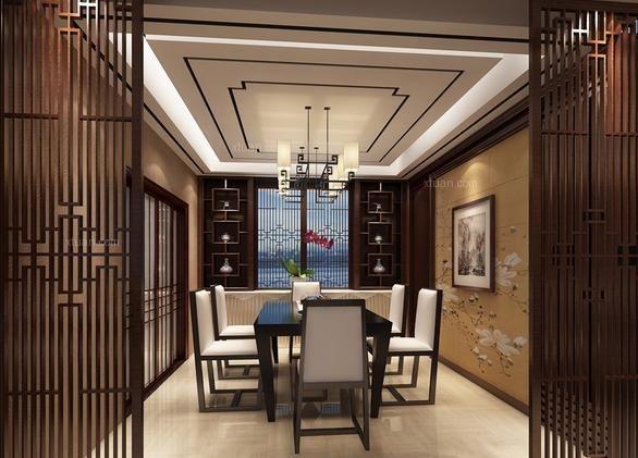 中式餐厅的墙壁装修选材上不宜选用墙面砖,乳胶漆等现代材质,可以选用