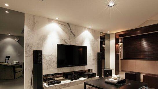 简欧风格的电视背景墙装修效果图图片