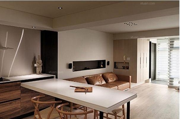 连接两厅与内部生活空间,同时充分利用墙壁安置镶嵌式整体橱柜图片