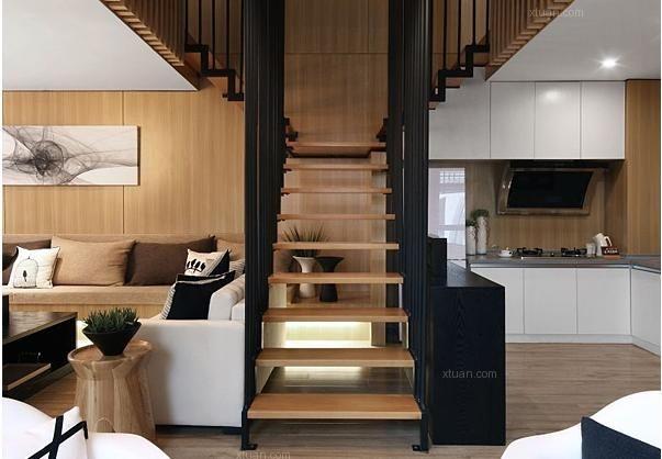 复式房装修效果图       从复式房内部空间的分布上来说,一楼整体是图片