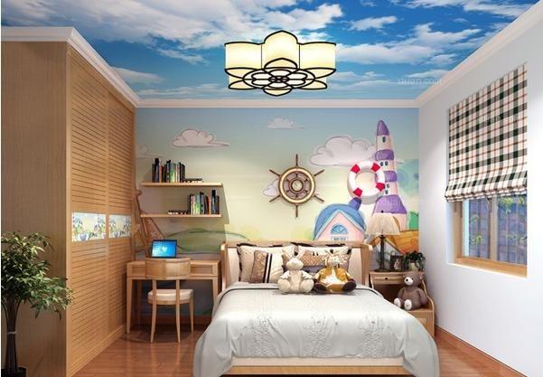 图上的儿童房装修效果图便是对床头背景墙成功改造的