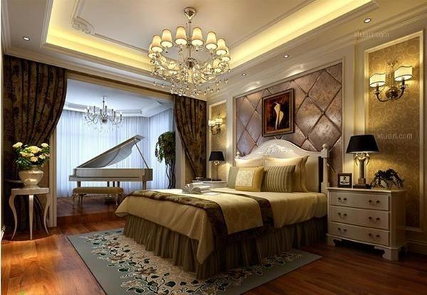 学装修 装修风格 欧式风格 欧式卧室装修效果图       铺贴满墙的壁纸图片
