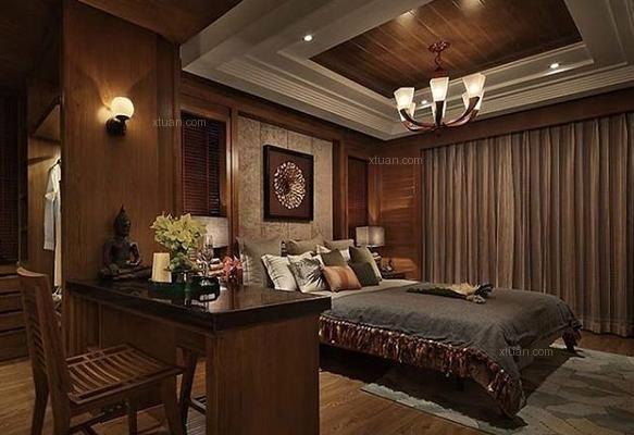 三,采用全木质工艺的东南亚卧室吊顶效果图