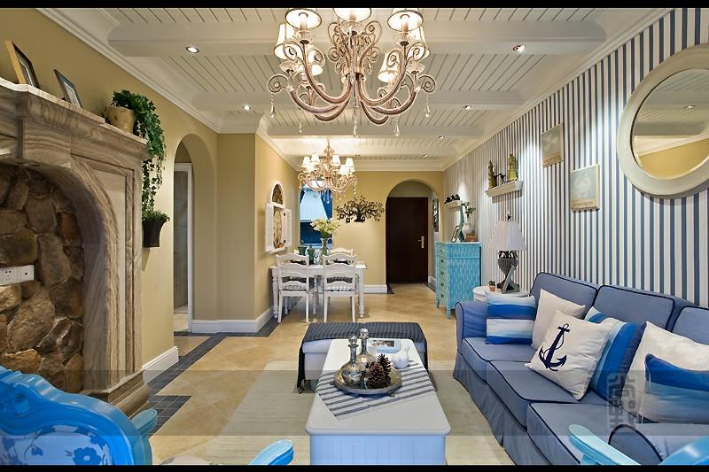 幸福庄园|88.89平两室两厅地中海风格|装修效果图-长沙实创装饰