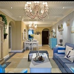 幸福庄园 88.89平两室两厅地中海风格 装修效果图-长沙实创装饰