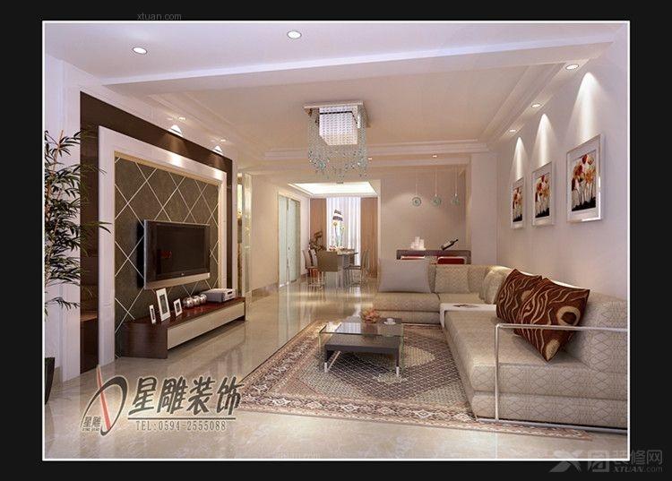 凤达雅景120平3房现代简约装修效果图