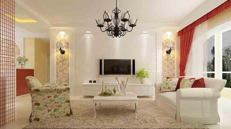 中式简约别墅 电视背景墙装修效果图图片