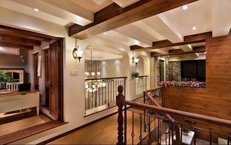 130平美式田园风格复式楼设计装修效果图