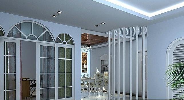 120平简欧风客厅隔断设计装修效果图