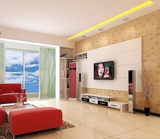 99平米生活之居影视墙设计装修效果图图片