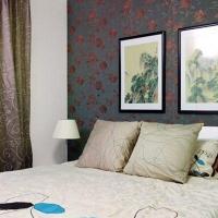 现代中式卧室背景墙设计装修效果图