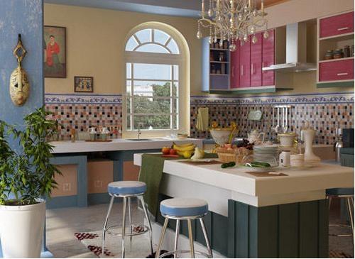 粉色浪漫家居厨房装修效果图