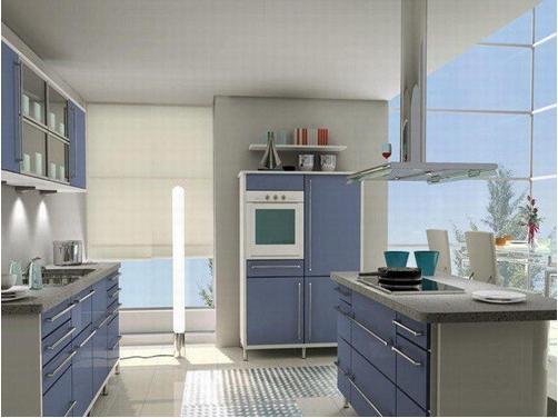 蓝色厨房橱柜装修效果图