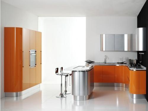 香甜橙色厨房橱柜设计装修效果图