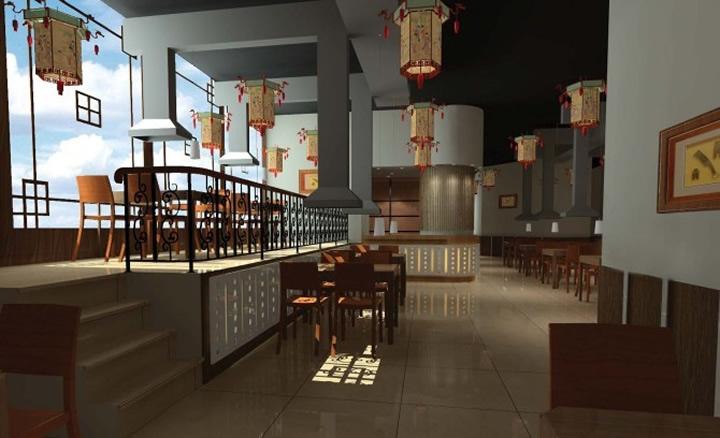 中档传统中式餐馆装修效果图