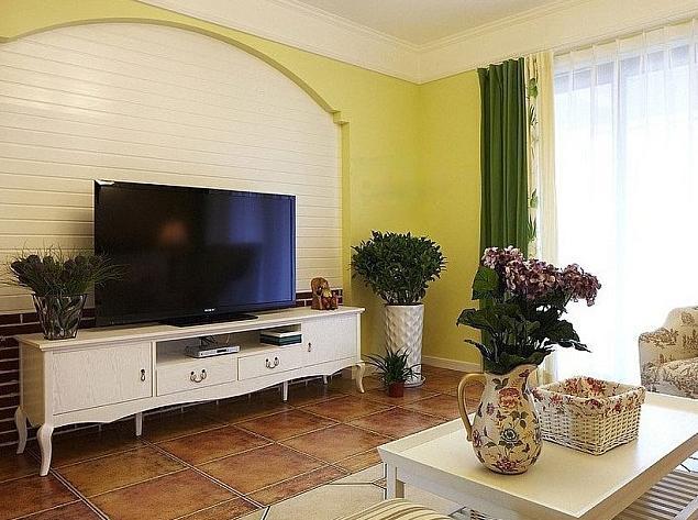 120平米清爽都市三居室设计装修效果图