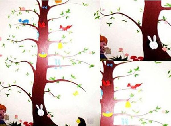 儿童房床头背景墙墙绘装修效果图