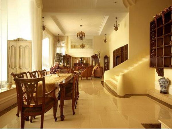 红木家具打造美式古典餐厅装修效果图