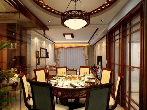 圆形吊顶装饰中式餐厅装修效果图
