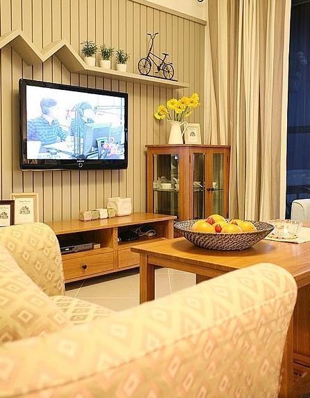 原木清新田园两居室客厅设计装修效果图