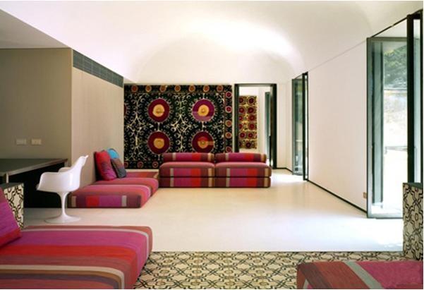 别墅巴洛克风格客厅沙发背景墙