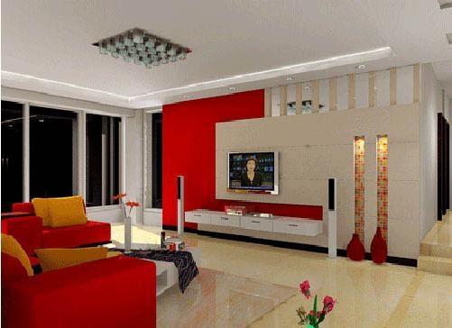 单身公寓混搭风格客厅影视墙