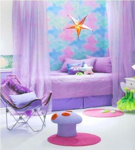 梦幻的紫色儿童房设计装修效果图