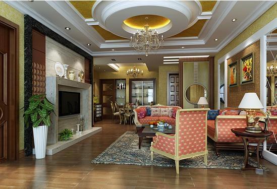 大户型欧式风格客厅圆形吊顶