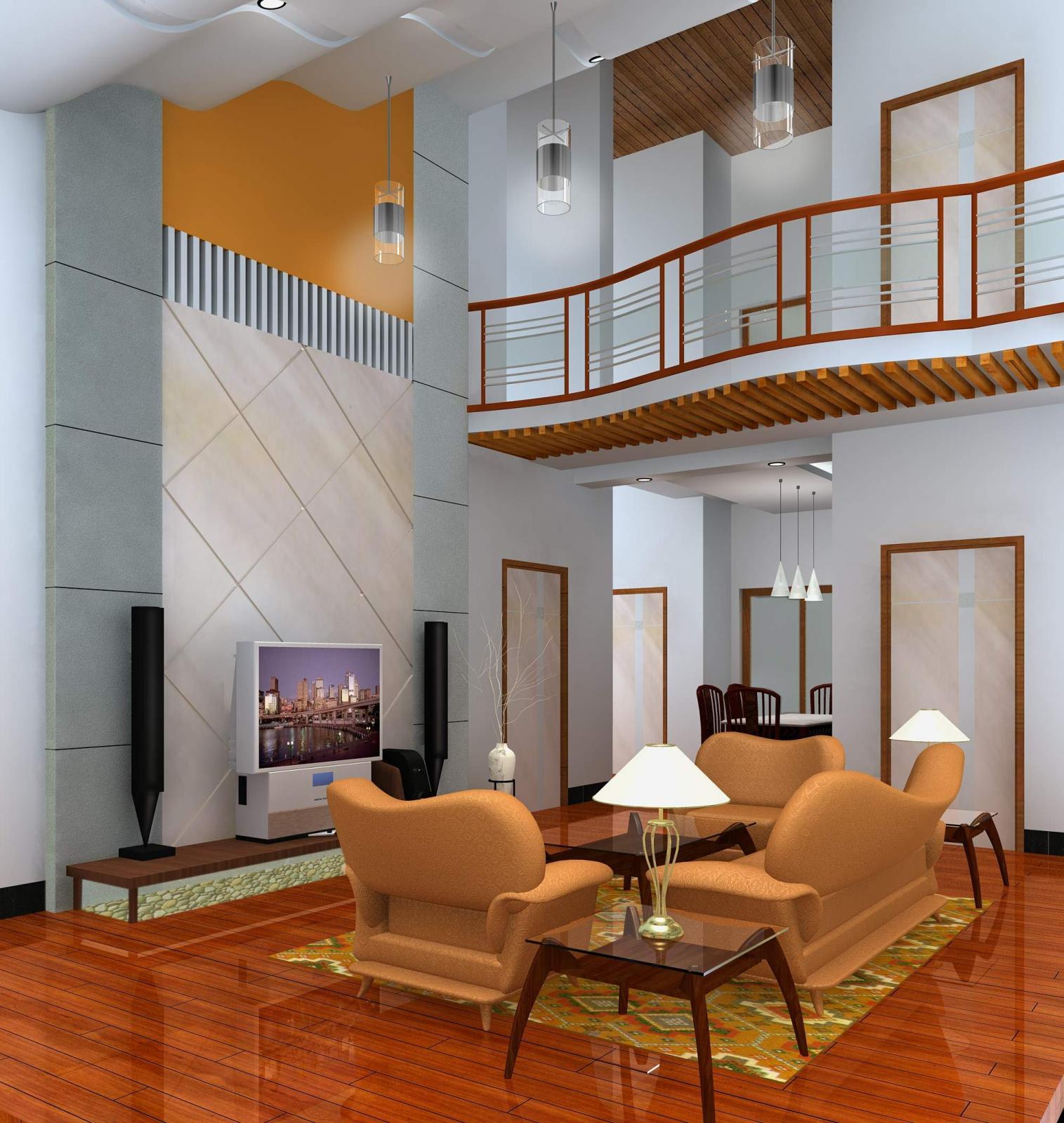 复式楼现代简约客厅沙发背景墙