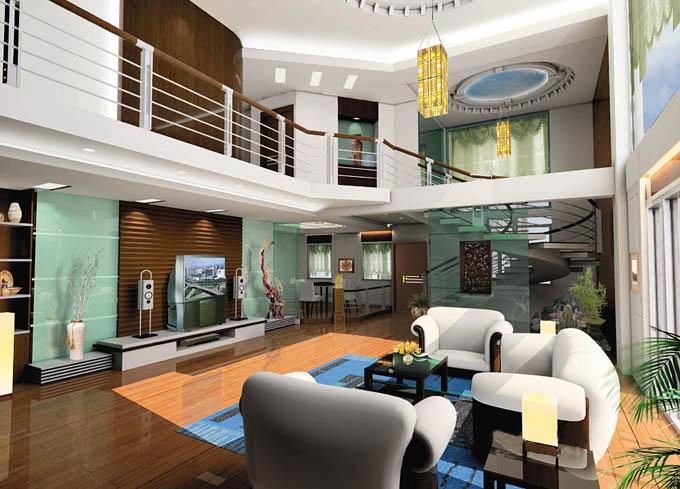 复式楼现代简约客厅沙发背景墙_客厅欣赏复式楼客厅图片