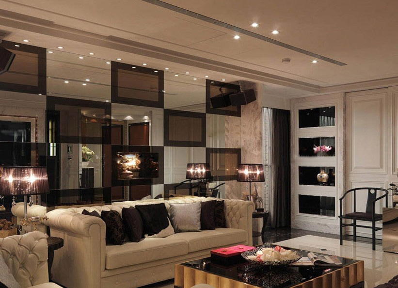 一室一厅欧式风格客厅沙发背景墙