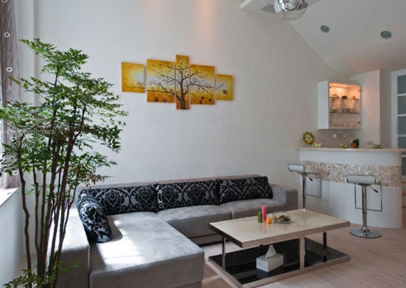 一室一厅混搭风格客厅沙发背景墙