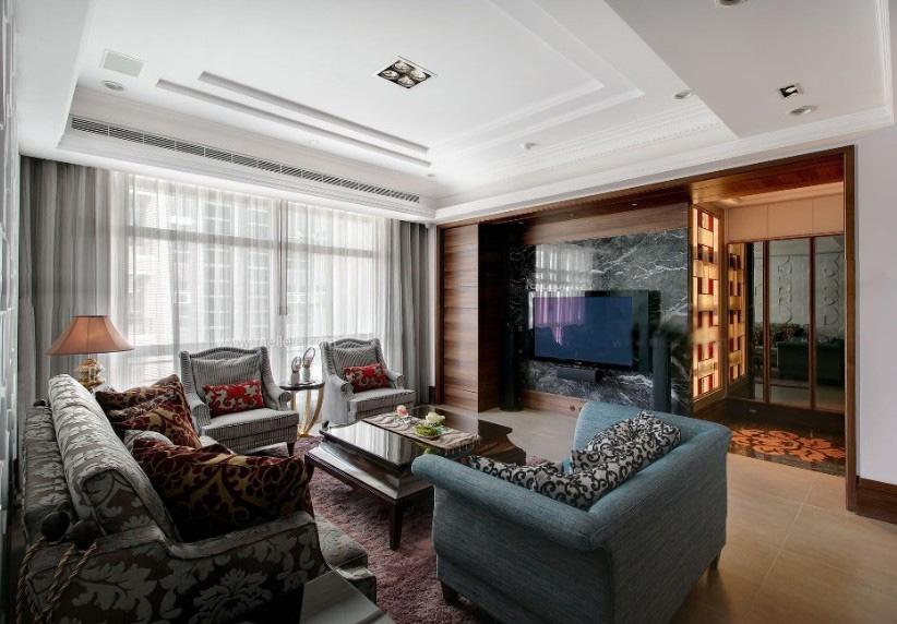 一室一厅新古典客厅沙发背景墙